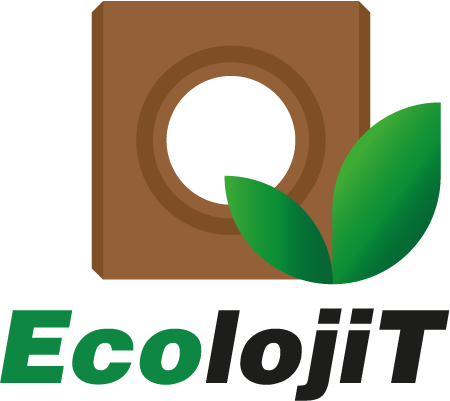 Tijolo ecológico ilustrado em logo EcolojiT.